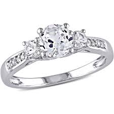 walmart white gold engagement rings miabella 1 1 3 carat t g w created white sapphire and