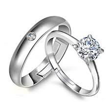 Wedding Rings Men by Silver Rings Men 925 Sterling White Gold Plated Women 1 Ct Austria
