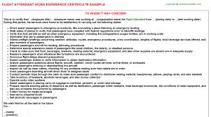 Sample Flight Attendant Resume by Flight Attendant Work Experience Certificate