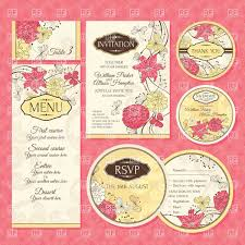 Wedding Invitations With Menu Cards Set Of Floral Wedding Invitation And Menu Cards Vector Image