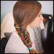 hairstyles with wool yarn extension fishtail braid temporary color highlights cute