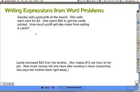 word problems 1 write the expression grade 7 youtube