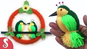 diy woolen birds wall hanging for home decoration my crafts and