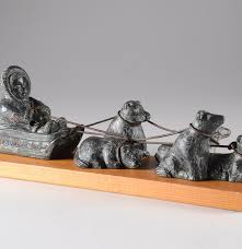 Inuit Soapstone Sculpture The Wolf Sculpture Inuit Dog Sled Soapstone Carving Ebth