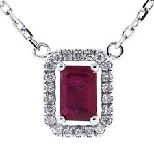 ruby diamonds necklace images Womens ruby diamond drop necklace 14k white gold 0 78 ct jpg