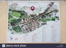 touristic map of touristic map of cetinje montenegro stock photo royalty free