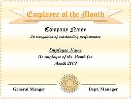 employee of the month certificate template free employee of the
