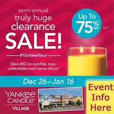 semi annual clearance sale at yankee candle store