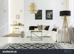 Black And White Home Interior White Home Interior Sofa Table Lamp Stock Photo 575152276