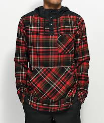 Flannel Shirts Cal Black Henley Hooded Flannel Shirt