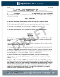Template Wills by Create A Last Will And Testament Templates