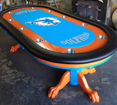 Poker Table Pedestal Custom Poker Table Sports Themed Custom Felt Thebestpokersite Com