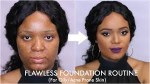 flawless foundation routine for oily acne prone skin omabelletv