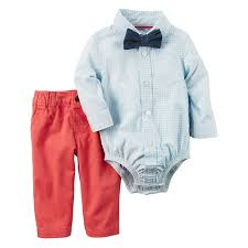 baby boy carter u0027s gingham button down bodysuit chambray bow tie