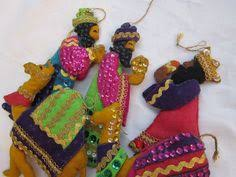 5 vintage handmade ornaments three wise and camels felt