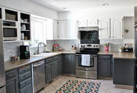 Two Tone Kitchen Cabinets Kitchen Exciting Area Rugs On Laminate Tile Flooring For