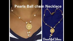 make gold chain necklace images How to make pearls gold ball chain necklace pearl pendent set at jpg