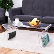clear acrylic coffee table costway rakuten costway 38 clear acrylic coffee table cocktail