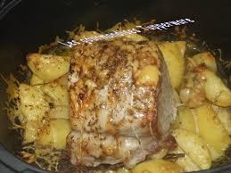 comment cuisiner roti de porc rôti de porc cuit sur lit de pomme de terre les gourmandises