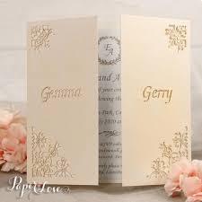 Laser Cut Invitation Cards Original Flower Corners Laser Cut White Gatefold Wedding Day