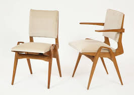 Midcentury Dining Chairs French Architectural Midcentury Dining Chairs White Velvet Wood