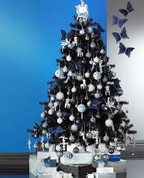 navy white and silver ornaments look on black trees