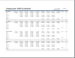 Employee Schedule Excel Template Ms Excel Employee Shift Schedule Template Word Excel Templates
