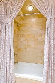 Travertine Bathtub Paisley Shower Curtain In Bathroom Mediterranean With Tile Bathtub