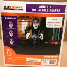 animated blinking eyes grim reaper airblown inflatable halloween