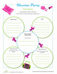party planner slumber party planner worksheet education