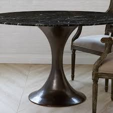 36 u201d stone top dining table with hammered base mecox gardens