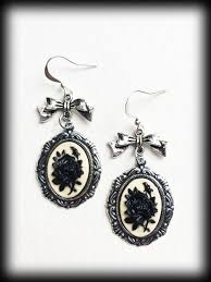 alternative earrings earrings black cameo antique silver