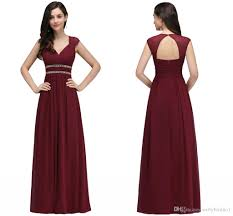 2018 burgundy new designer bridesmaid dresses long cap sleeves a