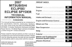 2007 mitsubishi eclipse u0026 spyder body manual original