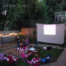 backyard movie projector and screen home outdoor decoration