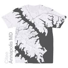 Md Map Citee Fashion Annapolis Md Map T Shirt