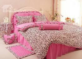 Leopard Bed Set Leopard Print Cotton Princess Style Pink 4 Duvet Covers