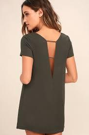 chic washed olive green dress shift dress short sleeve dress