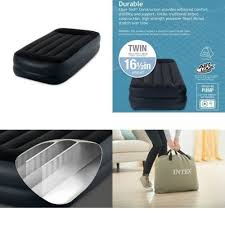 intex classic inflatable twin air mattress bed built in pillow