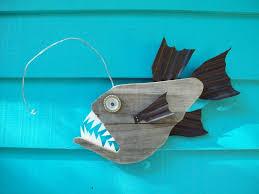 recycled wood anglerfish upcycled made of recycled wood angler fish