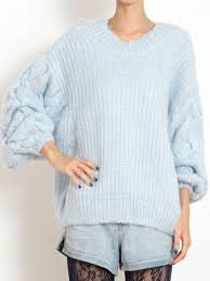knit oversized sweater light blue cable knit sleeve backless oversize sweater abaday com