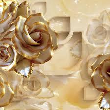golden roses 3d golden modern wallpaper embossed mural rolls wall