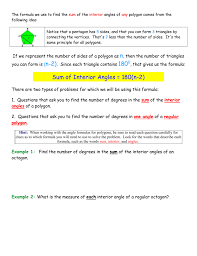 Interior And Exterior Angles Worksheet Measure Of One Interior Angle A Regular Polygon Formula