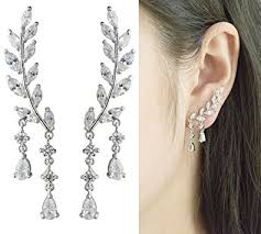 ear climber earring cishop springwaking leaf simulated diamond