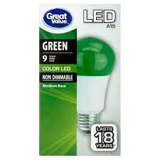 great value led a19 green medium base bulb 9w walmart com