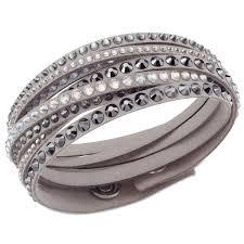 swarovski crystal leather bracelet images Swarovski jwsw5 5021033 women 39 s fabric wraps gray bracelet jpg