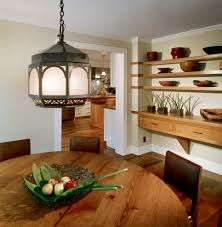 floating shelves dining with round dining table dining room