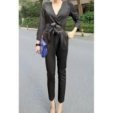 s sleeve jumpsuit stylish s v neck 3 4 sleeve solid color jumpsuit black white