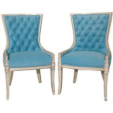 Teal Blue Accent Chair Tiffany Blue Velvet Slipper Chairs Hollywood Regency French