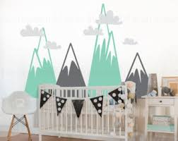 Etsy Wall Decals Nursery Mountain Wall Decal Etsy